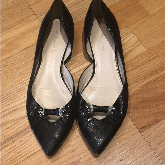 Snakeskin Pointy Toe Black Flats 95